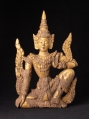 Antique wooden panel of Burmese Nat statue from Burma made from Wood