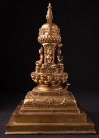 Old bronze Nepali Stupa from Nepal made from Bronze