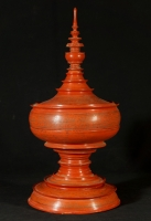Antique red offering vessel from Burma made from lacquer