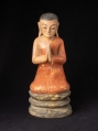 Old wooden Burmese monk statue from Burma made from Wood