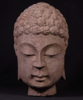 Old stone Buddha head from China made from Granite stone