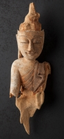 Antique Burmese Buddha head from Burma made from Wood